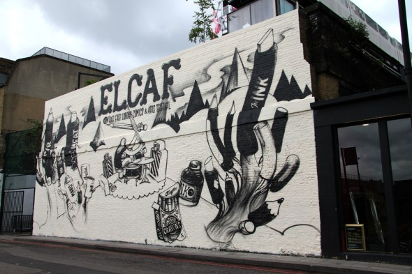 Work in progress for the ELCAF, @EndoftheLineLDN  is painting the wall with the poster I've done for nobrow, I've got a chubby right now.