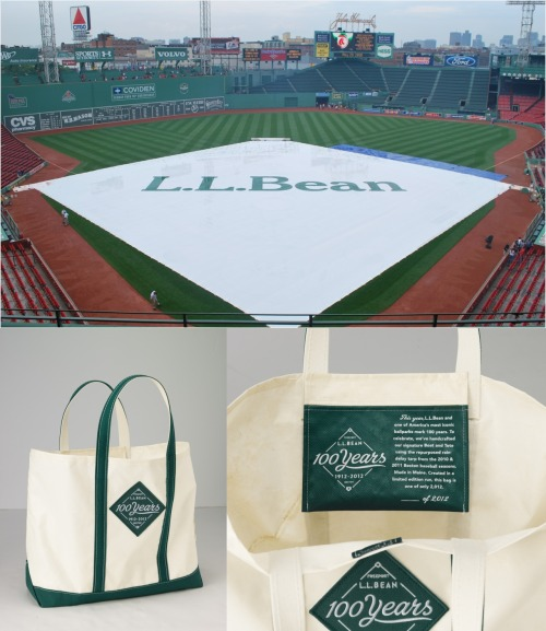 Own a piece of baseball and L.L.Bean history - Limited Edition L.L.Bean Boat and Totes made from the Fenway Park infield rain tarp.  Only 2,012 made to celebrate L.L.Bean's and Fenway's 100th anniversaries.  Available June 12, 9:00AM by calling 800-554-4072 - Made in Maine :)