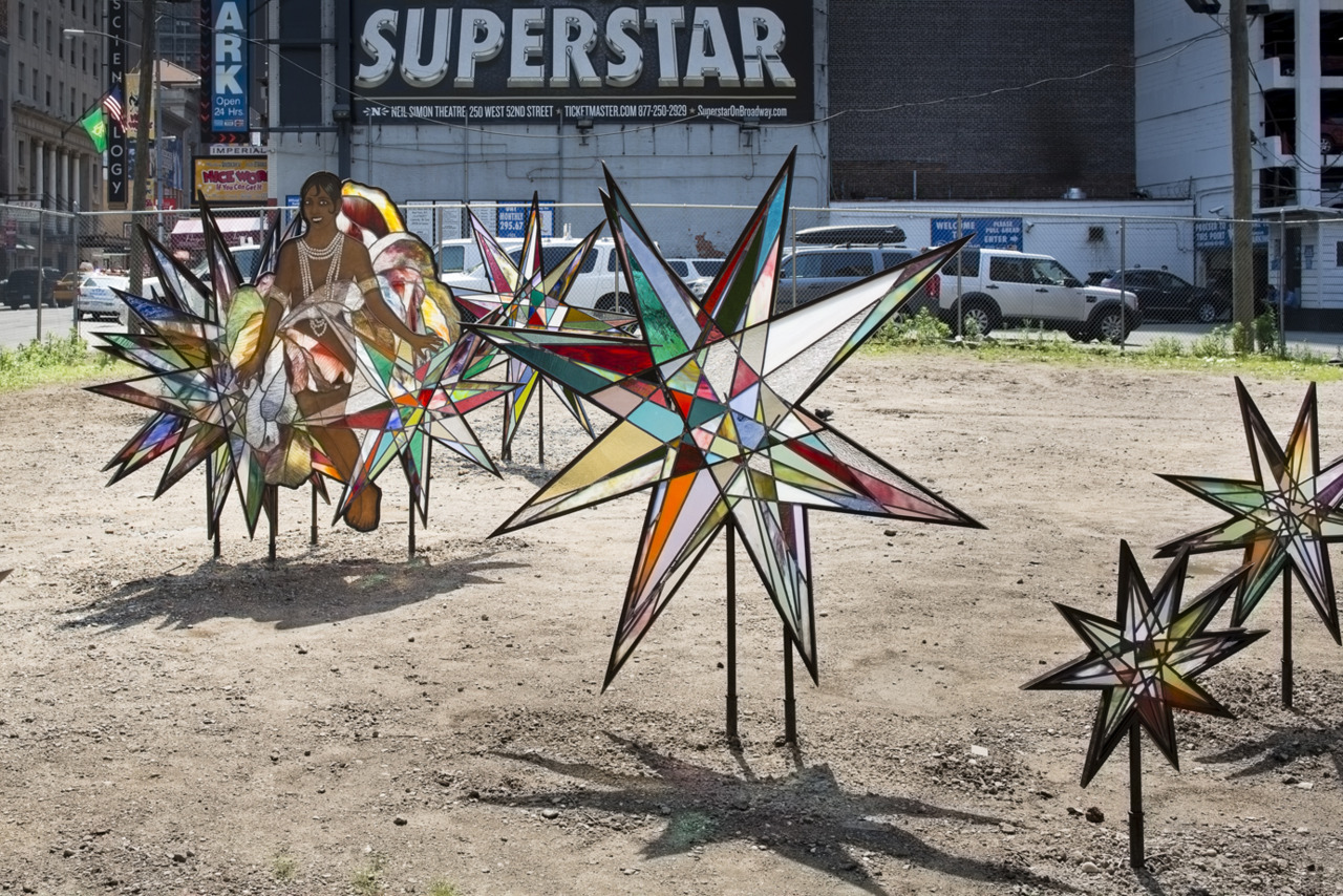 This free outdoor installation in Times Square features rainbow-colored star clusters made by Kiki Smith which pay tribute to Josephine Baker.  The Last Lot (46th and 8th Ave) is a generous short-term donation to Art Production Fund from The Shubert Organization, and is part of the Times Square Alliance's public art program that works to bring cutting-edge art to Times Square (www.timessquarenyc.org).  We hope you get to visit it this summer!
