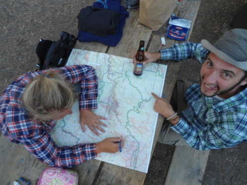 Yosemite backpacking trip mapping at the backpackers campsite.