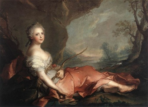 Marie Adelaide of France as Diana, 1745… Jean-Marc Nattier was a French painter who did many portraits of the French royal family during the mid 18th century.