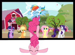 theponyartcollection:  Pinkie Pie Breaking 4th Wall and RD Screen Crash by ~blazah99  The animators totally need to do this at some point.
