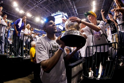 nba:  June 6, 2012 - Western Conference Finals Game 6: San Antonio Spurs at Oklahoma City Thunder.