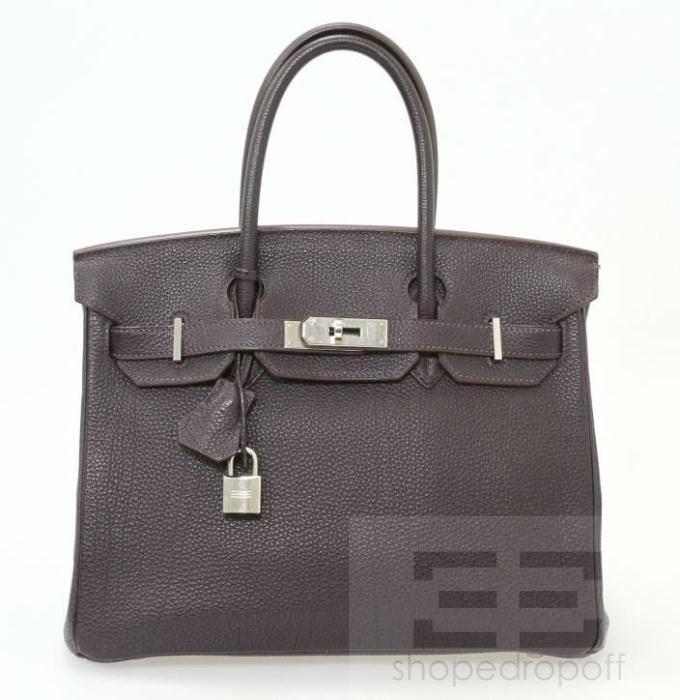 Hermes Raisin Togo Leather Palladium Hardware 30cm Birkin Bag now available on shopedropoff.com