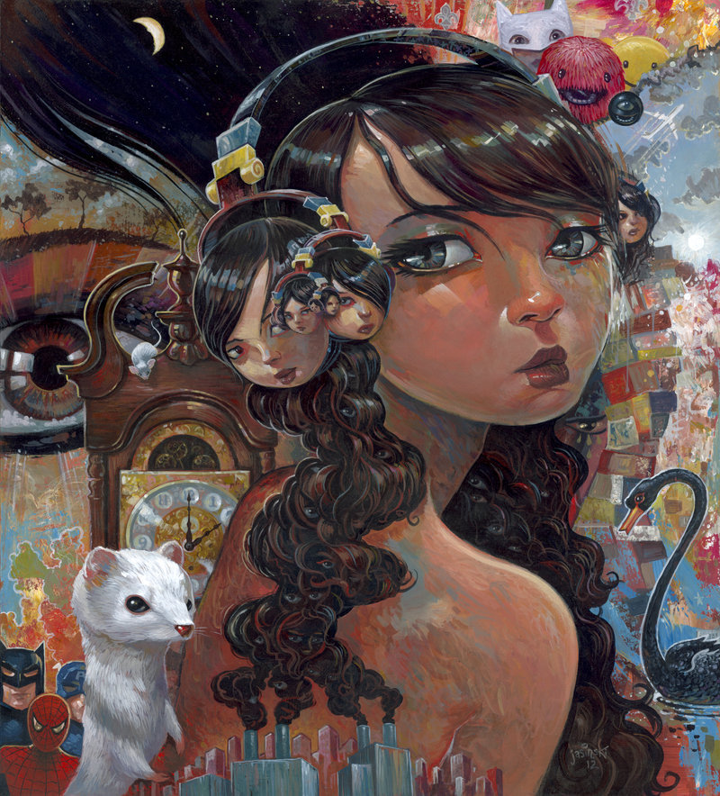 """Eyes Like Infinity"" 18x20 inches.Painted for the ""Faces"" show at XL Gallery in Orlando FL. opening at the end of this month."