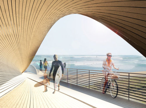 "Check it out California.  ""Brooklyn-based 24° Studio designed Cut Back Hills, a sweeping wood walking path composed of FSC-certified wood."" inhbt."