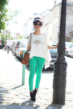 lookbookdotnu: mint  Green pants (by Leeloo P)