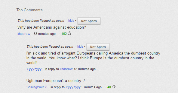 YouTube comments at it again. -