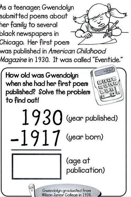 from a children's activity book on Gwendolyn Brooks.