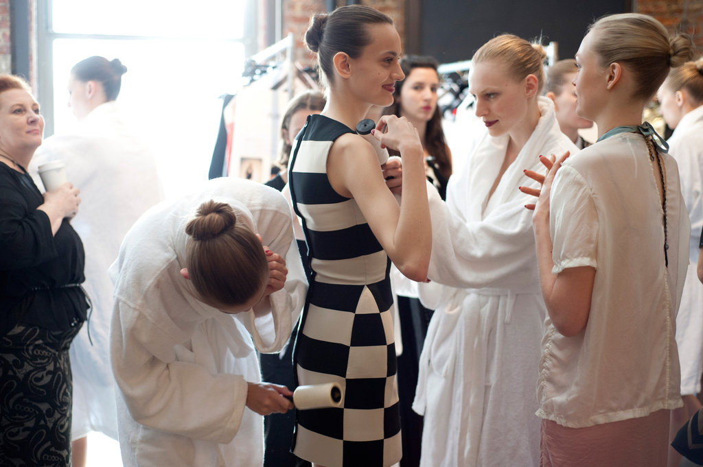 Models get runway ready backstage at Lanvin.