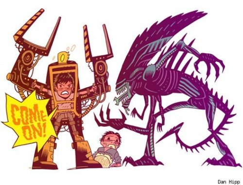 superstarling:  Dan Hipp's Aliens illustration