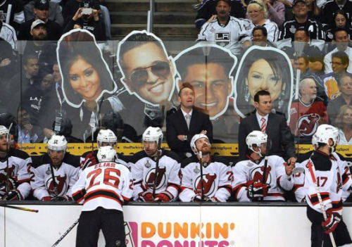 "LA Taunts Jersey Devils with ""Jersey Shore"" Cutouts Not sure how the Devils are going to handle this situation."