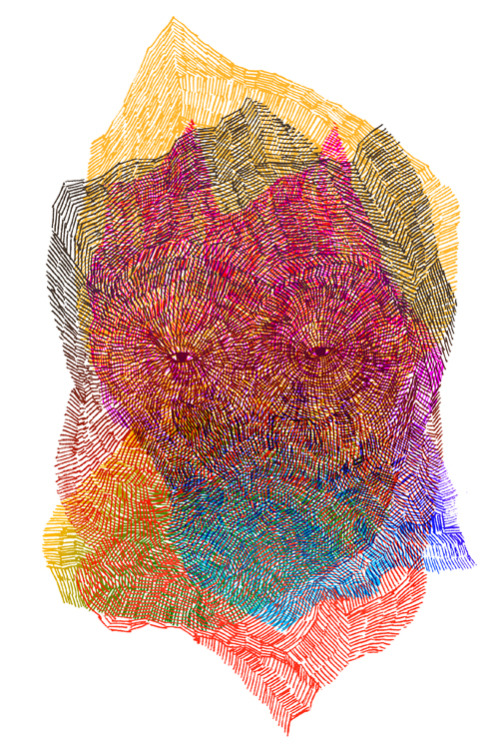 jisoonpark:  face 862012, ballpoint pen on paper, colored and composed by photoshop