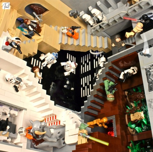error888:  This LEGO Star Wars M.C. Escher diorama defines awesome