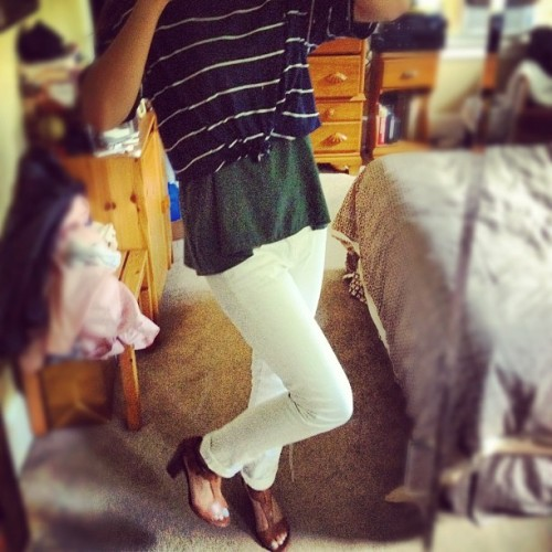 #OOTD a little layering, some new-tral heels, and hw-ite jeans.  (Taken with instagram)