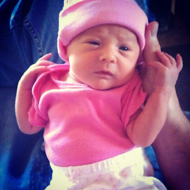 Pretty in pink. #baby #clothes #pink #color #colorful #newborn #hat  (Taken with Instagram at Becca Mae's Farm)