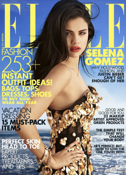 Selena Gomez in Dolce&Gabbana FW13 black & gold corset for Elle Us, July 2012