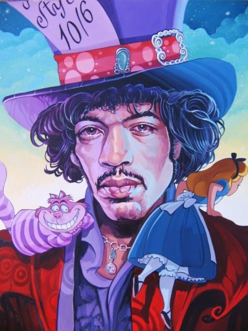 Jimi Hendrix as the Mad Hatter of the Day