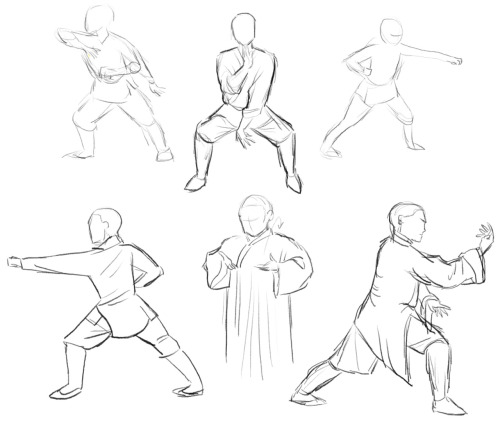 I drew some poses from Shaolin (which is a pretty good movie)