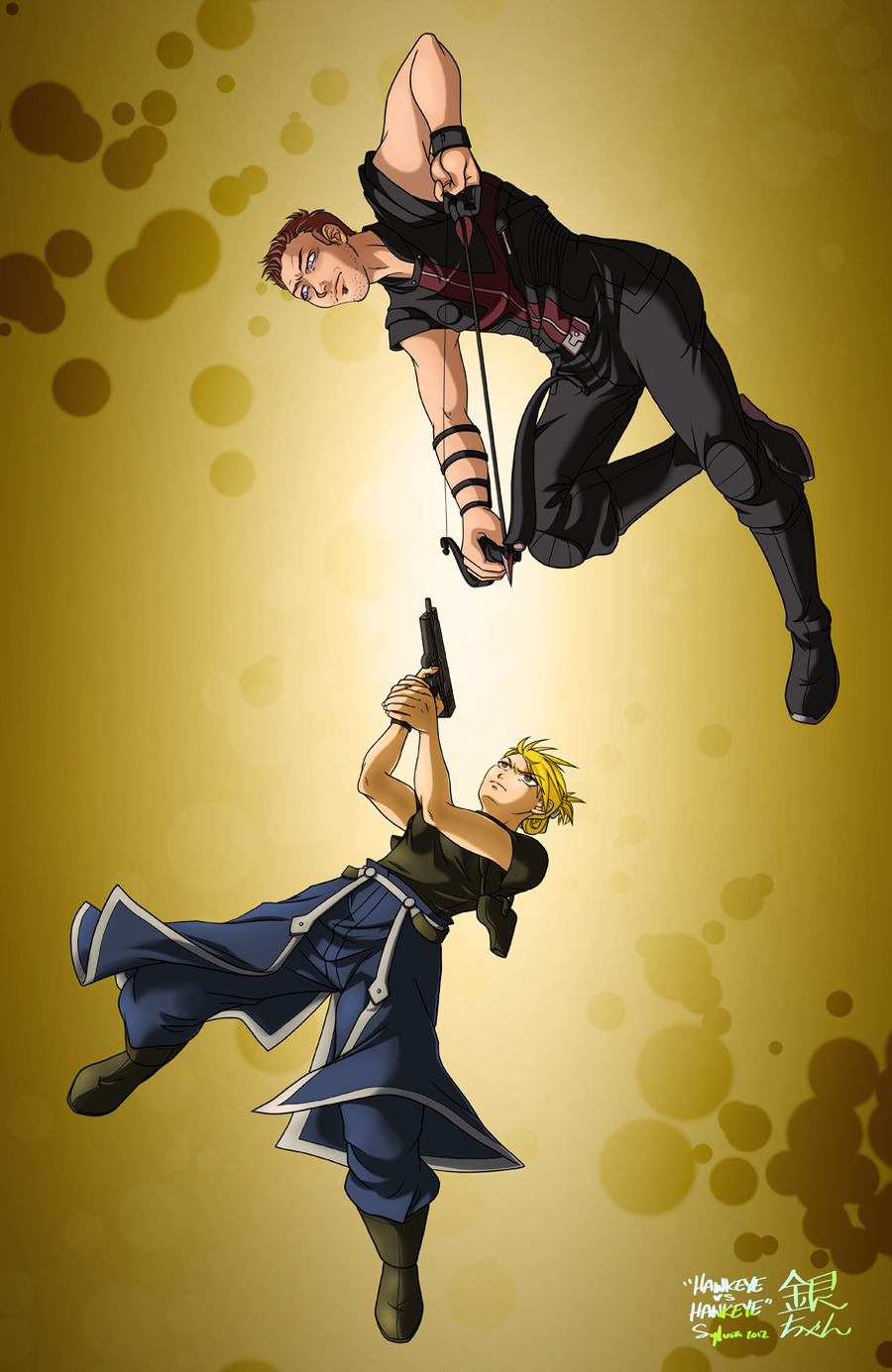 Hawkeye vs Hawkeye by ~ginchan After posting this questions, I drew the question. lol