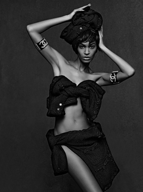 vogue:  Joan Smalls Photographed by Karl Lagerfeld for The Little Black Jacket: Chanel's Classic Revisited