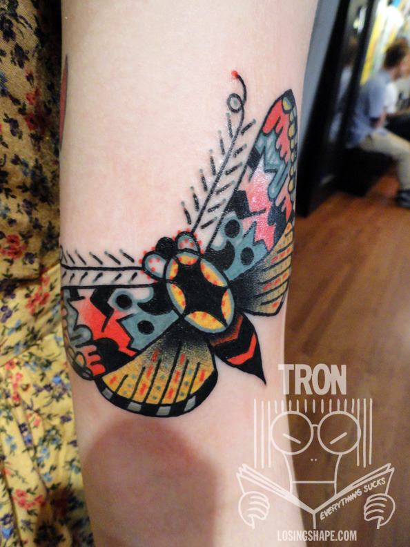 A very fun moth I got to tattoo on Nora last night! Thanks so much! Tron/ Thicker Than Water