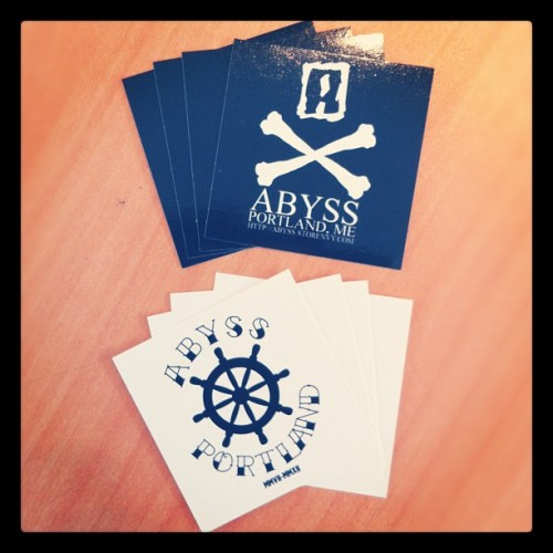 New order of stickers just arrived. Email your address to clintabyss@buyabss.com to get some for free! #abyss_crew #stickerwars #sticker #free #skull #bones #streetwear  (Taken with Instagram)