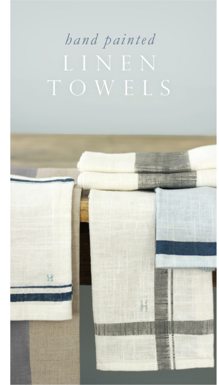 Hand painted linen kitchen towels and napkins via Jenny Steffens Hobick