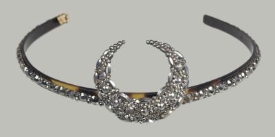 Steel tiara (French), MFA Boston, nineteenth century  The museum doesn't give anything about this piece besides a description of what it looks like, but because of the half moon I believe this went with a fancy dress costume from the latter half of the nineteenth century.