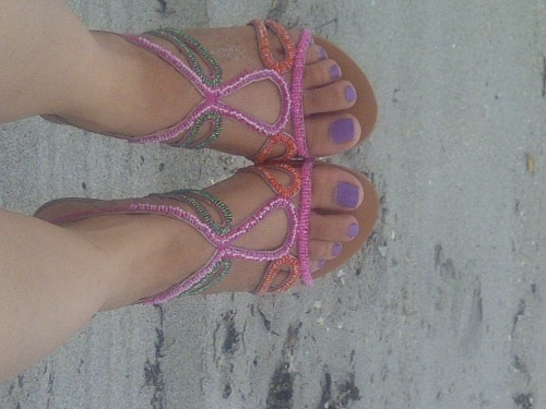 New sandals at the beach