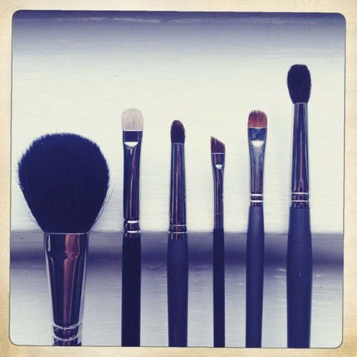 The Daily Face - Essential Brushes These are the 6 brushes I use for the makeup looks I create for The Daily Face.  The first 4 are essentials.  The last 2 are also great to have and may make your life a lot easier, but aren't necessary. Good brushes are expensive, but if you take care of them, i.e. wash/disinfect them and store them with care, they should last for years.  You can definitely buy cheaper brushes, but you will notice the bristles will fall out and they might not hold up as well, resulting in having to re-buy brushes which can cost you more than if you invested in more expensive brushes in the first place. I listed the equivalent high-end brush for each brush pictured, but that doesn't mean that is the only good version of that brush.  If you want to buy brushes that are a bit less expensive (or a different brand) just use this as a guide for how the brushes should look and feel.   (from right to left) 1. Blush Brush - For applying blush (obviously). (like MAC brush 116) 2. Fluff Brush - For applying shadow to the lid area. (like MAC brush 213) 3. Small Tapered Brush - For apply shadow with precision into the crease. 4. Small Angled Brush - For applying gel liner like MAC Blacktrack. (Like MAC brush 263) 5. Small Flat Tapered Brush - For precision application of shadow into the bottom lashes. (like Make Up For Ever brush 5N) 6. Tapered Blending Brush - Good for applying shadow to the crease and general blending. (Like Make Up For Ever brush 14S)