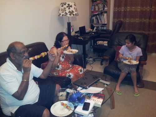 Here's the family chowing down on some barbecued chicken on skewers. Got the recipe from Christina's Food Chicken was incredibly delicious. Mom hadn't gotten enough chicken so I decided to instead add some vegetables in between the chunks. Still can't get over how good they tasted. The only difference being, it's a lot harder to get red wine vinegar in Dubai so I used a cap-full of blended scotch. Thanks to lifeisawow for the recipe. (I had four of them!)