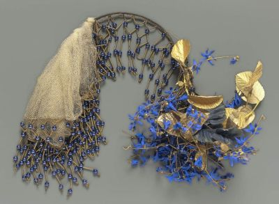 Gilded French-made headdress with artificial scillia blossoms, MFA Boston, mid-1800s