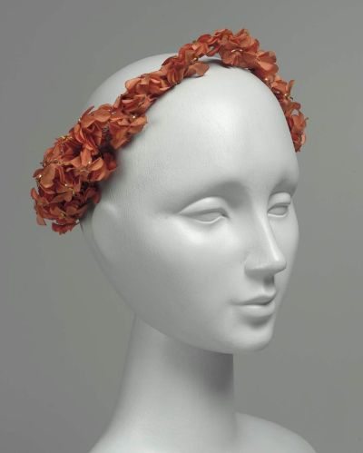 French-made painted floral headdress, MFA Boston, mid-1800s