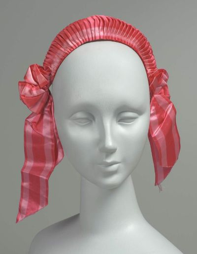 French-made silk satin ribbon headdress, MFA Boston, mid-1800s