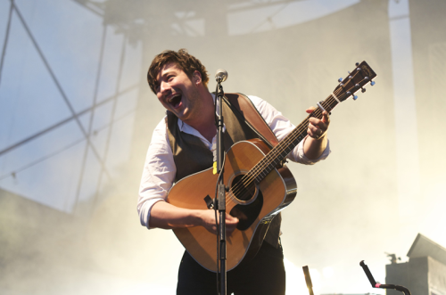 Marcus Mumford being happy at the Gentlemen of the Road Stopever Festival in Huddersfield, UK on 2nd June 2012. Photographed for  Gig JunkiesPhotographer: Ben Bentley