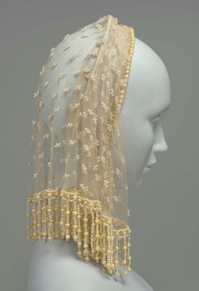 French-made beaded silk net headdress, MFA Boston, mid-1800s