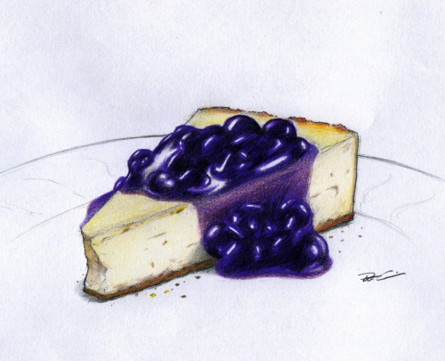 eatsleepdraw:  Blueberry Cheesecake ~by Robert Alicea  A very tasty looking piece of art. :'9