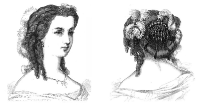 Godey's coiffure and headdress, July 1860