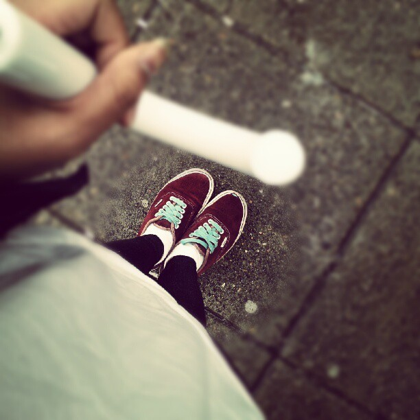 everyones gotta have one of these… #ghettovans #raincouver #busstop #whitesocks  (Taken with Instagram)