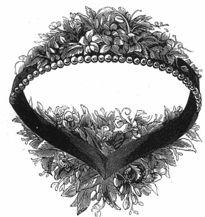 Godey's artificial flower and pearl headdress, October 1861