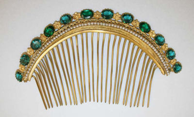 Metal, stone, and pearl comb, Met, 1880s