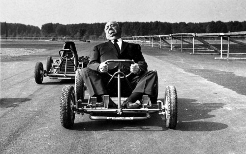 Director Alfred Hitchcock driving a go-kart in Milan, October 12, 1960 (AP Photo)