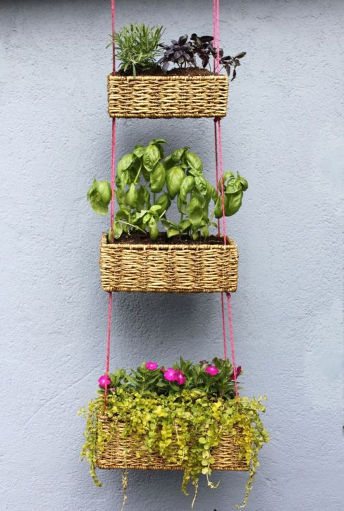 Hanging Basket Garden DIY via A Beautiful Mess