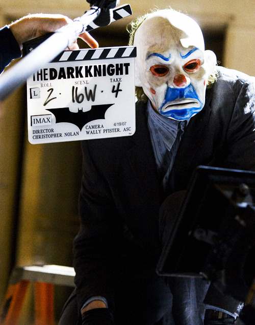 Heath Ledger on the set of The Dark Knight (2008)