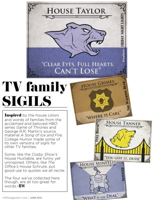 TV family house sigils featuring Friday Night Lights' House Taylor