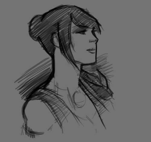 "becauseedric:  Quick Morrigan sketch. Because I need more Morrigan.  Her smile is a dead language. A man could search his whole life for the carven slab That will unlock its secrets. I alone translated her, But you would not believe the stories she told, Or how her laughter once pealed.   Millennia hence, scholars Will spread her out like cuneiform tablets, To divine woman from myth. They'll say she was a carven slab.  That her prideful cheek commanded, ""Look on my Works, ye mighty, and despair."" ""No, it's just an idiom,""  I'd shout in every language man ever spoke Though they wouldn't hear me anyway. (with apologies to Percy Bysshe Shelley)"