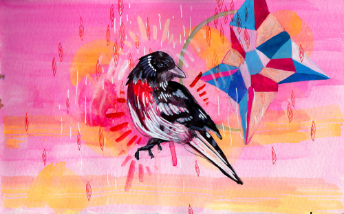 manfishincsketch:  Neon pink and birds make everything better Prints Jill Colbert