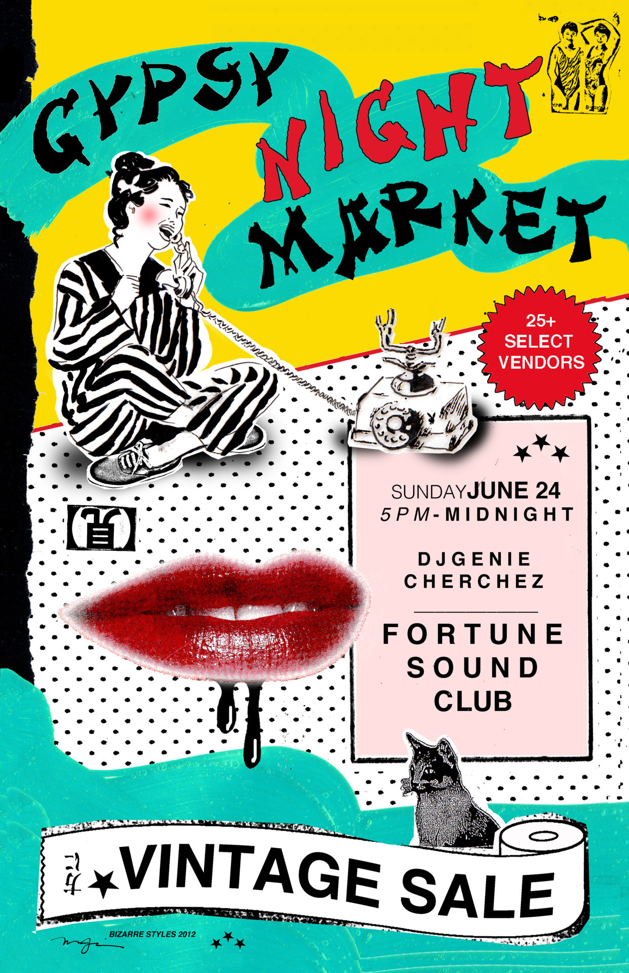 ——-> ONE SUMMER NIGHT ONLY ! GYPSY NIGHT MARKET Vintage Sale! Fortune Sound Club hosts the first GYPSY NIGHT MARKET during the Chinatown Night Market!   Soak up the smells, sights, and neon lights of the night market… Practise your haggling skills over skewered squid and bubble tea then head over to the GYPSY NIGHT MARKET Vintage Sale where treasures await from over 25 local vintage brands, stylists,pickers and collectors!   Hand picked women's and men's clothing, accessories, jewellery,designer,shoes, objects of desire, home decor, records, art, books, inspiration….   SUNDAY, JUNE.24TH  5pm to MIDNIGHT  DJ Genie   CHERCHEZ  Drink specials!  Shop & Party!    19+   ** If you are interested in being a vendor at Gypsy Night Market , please email info@gypsymarketvintage.com**   www.facebook.com/gypsymarketvintage www.gypsymarket.tumblr.com www.fortunesoundclub.com