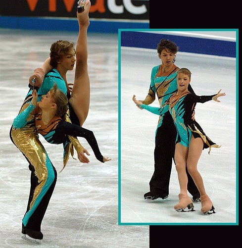 Ekaterina Bobrova and Dmitri Soloviev's free dance costumes at the 2006 Junior Grand Prix Final and 2007 Junior Worlds. Photos by Barry Mittan. Source: http://photos.skatetoday.com/displayimage.php?album=52&pid=7055 http://photos.skatetoday.com/displayimage.php?album=58&pid=8152